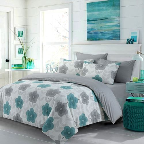 Picture of Aqua flowers duvet set
