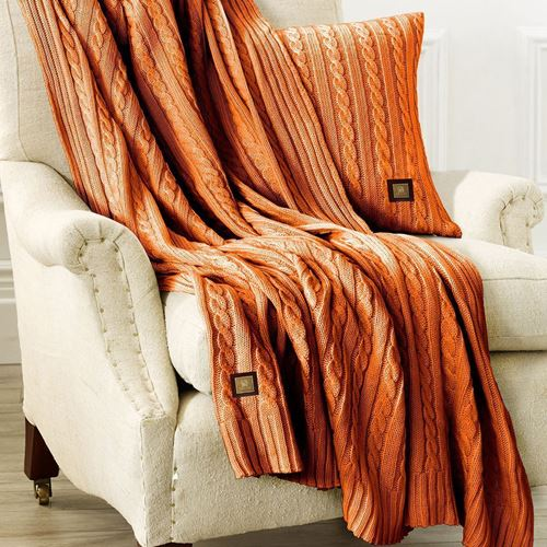Picture of Woolen throw orange